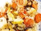 Рецепта Задушени тиквички и картофи с кашкавал